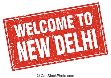 New Delhi red square grunge welcome to stamp