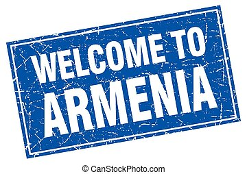 Armenia blue square grunge welcome to stamp