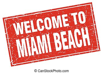 Miami Beach red square grunge welcome to stamp