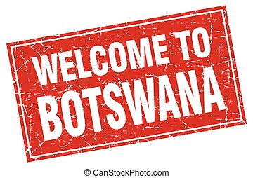 Botswana red square grunge welcome to stamp
