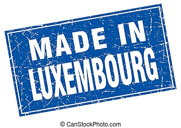 Luxembourg blue square grunge made in stamp