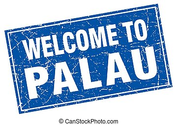 Palau blue square grunge welcome to stamp
