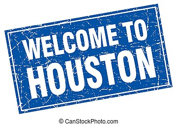 Houston blue square grunge welcome to stamp