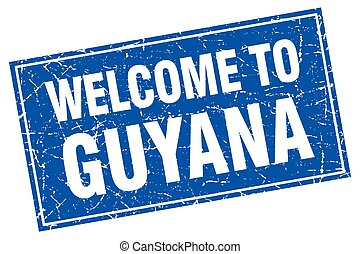 Guyana blue square grunge welcome to stamp