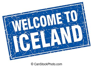 Iceland blue square grunge welcome to stamp