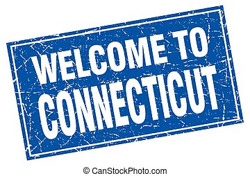 Connecticut blue square grunge welcome to stamp