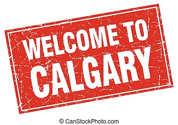 Calgary red square grunge welcome to stamp