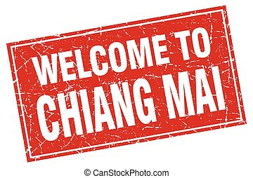 Chiang mai red square grunge welcome to stamp