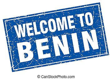 Benin blue square grunge welcome to stamp