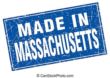 Massachusetts blue square grunge made in stamp