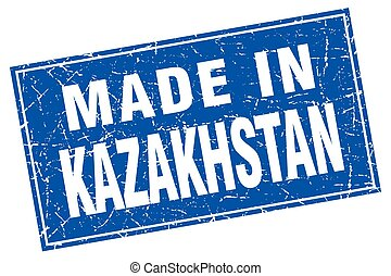 Kazakhstan blue square grunge made in stamp