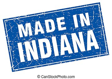 Indiana blue square grunge made in stamp