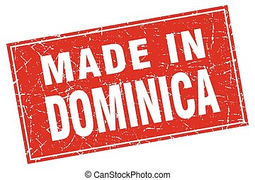 Dominica red square grunge made in stamp