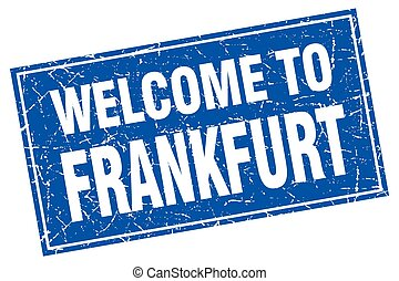 Frankfurt blue square grunge welcome to stamp