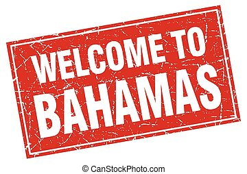 Bahamas red square grunge welcome to stamp