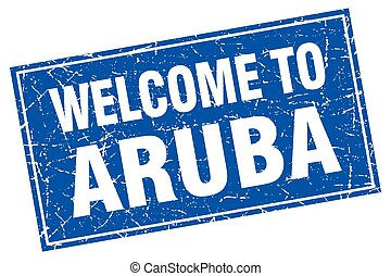 Aruba blue square grunge welcome to stamp