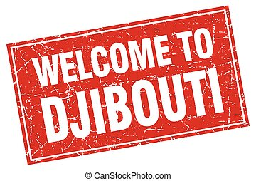 Djibouti red square grunge welcome to stamp