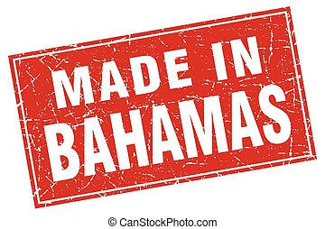 Bahamas red square grunge made in stamp