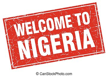 Nigeria red square grunge welcome to stamp