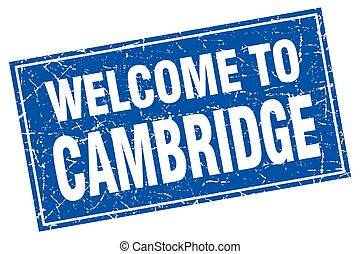 Cambridge blue square grunge welcome to stamp