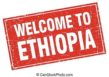 Ethiopia red square grunge welcome to stamp