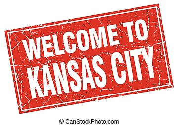 Kansas City red square grunge welcome to stamp