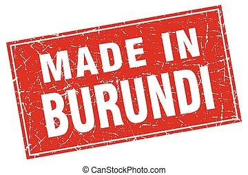 Burundi red square grunge made in stamp