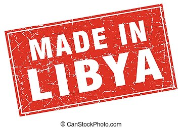 Libya red square grunge made in stamp