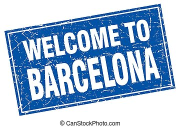 Barcelona blue square grunge welcome to stamp