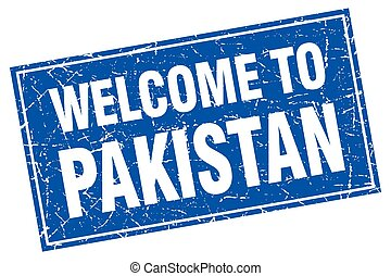 Pakistan blue square grunge welcome to stamp
