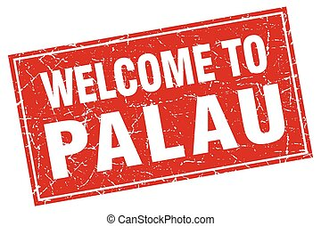 Palau red square grunge welcome to stamp