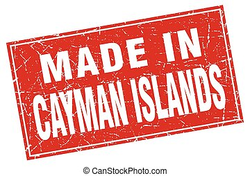 Cayman Islands red square grunge made in stamp
