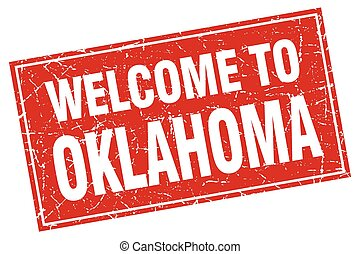 Oklahoma red square grunge welcome to stamp