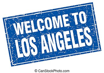 Los Angeles blue square grunge welcome to stamp