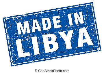 Libya blue square grunge made in stamp