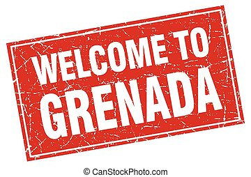 Grenada red square grunge welcome to stamp