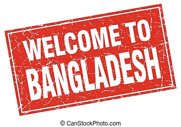 Bangladesh red square grunge welcome to stamp