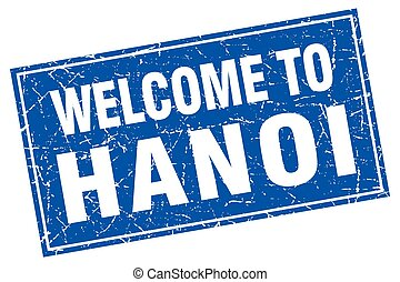 Hanoi blue square grunge welcome to stamp