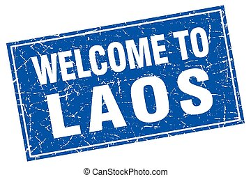 Laos blue square grunge welcome to stamp