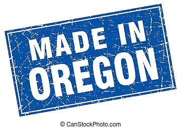 Oregon blue square grunge made in stamp