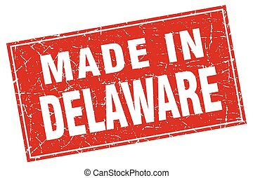 Delaware red square grunge made in stamp