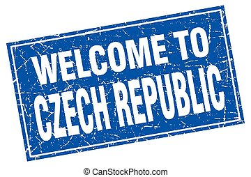 Czech Republic blue square grunge welcome to stamp