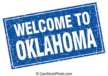 Oklahoma blue square grunge welcome to stamp