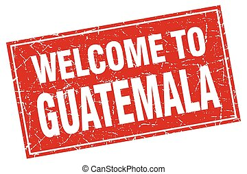 Guatemala red square grunge welcome to stamp