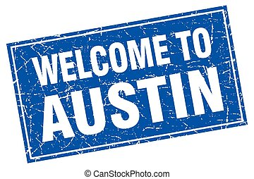 Austin blue square grunge welcome to stamp