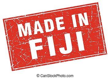 Fiji red square grunge made in stamp