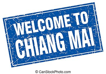 Chiang mai blue square grunge welcome to stamp
