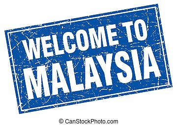 Malaysia blue square grunge welcome to stamp