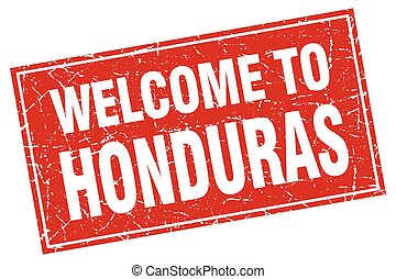 Honduras red square grunge welcome to stamp
