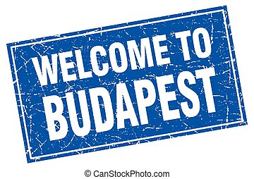 Budapest blue square grunge welcome to stamp